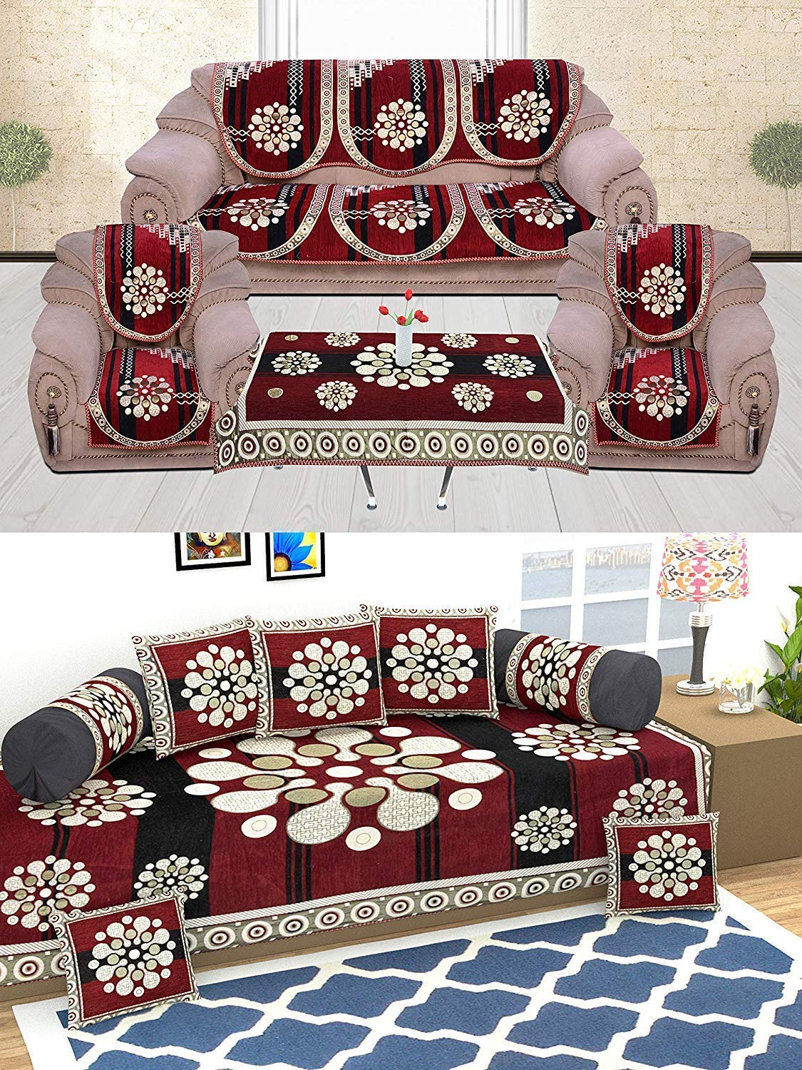 Terrific Sofa Cover Set And Diwan Set Combo Amazon In Home Kitchen Lamtechconsult Wood Chair Design Ideas Lamtechconsultcom