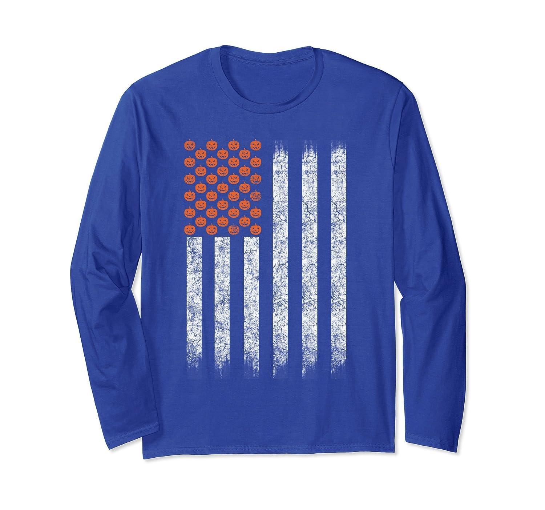 American Flag Pumpkins Halloween Long Sleeve T-Shirt-mt