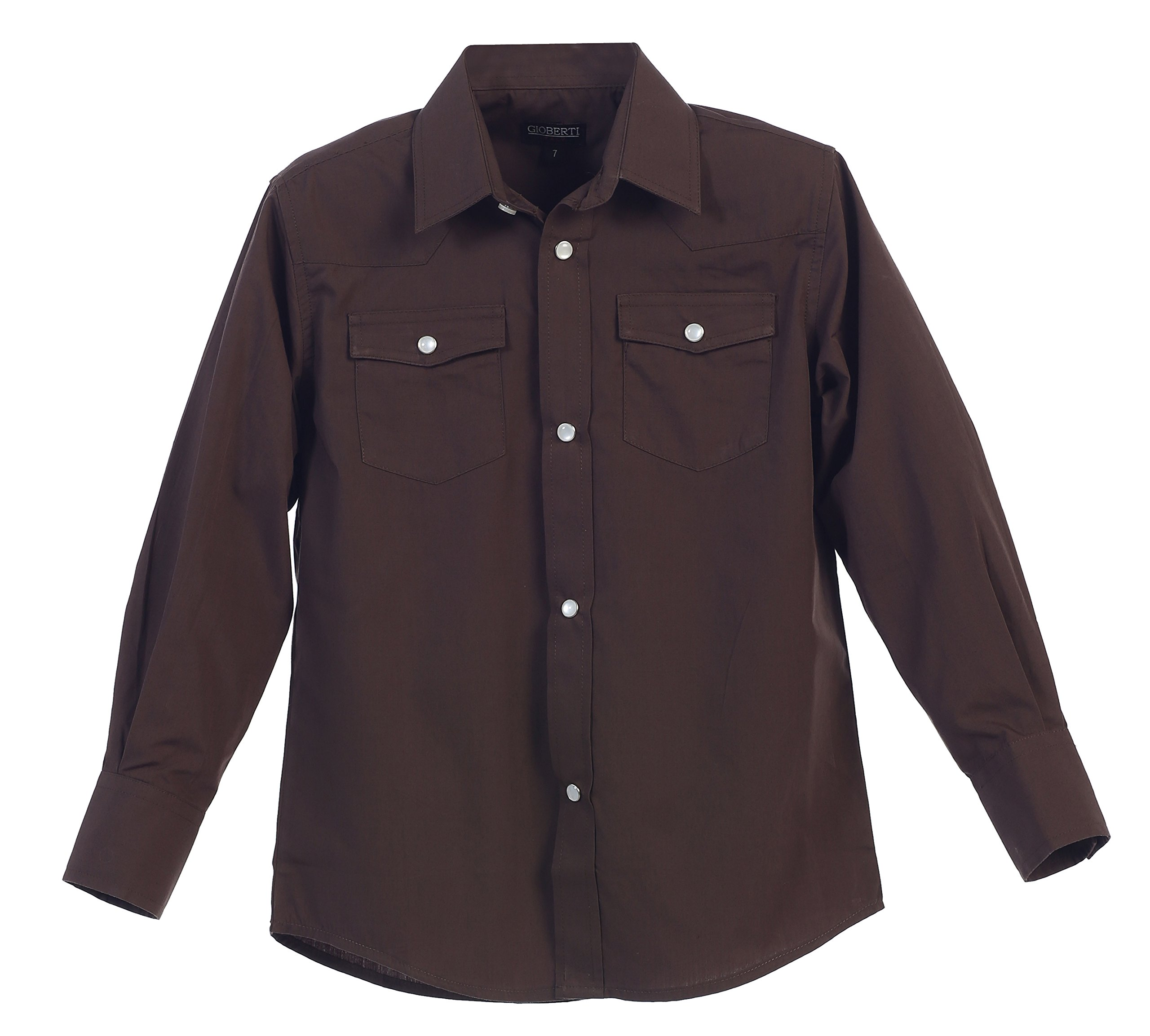 Gioberti Big Boys Casual Western Solid Long Sleeve Shirt with Pearl Snaps, Brown, Size 10