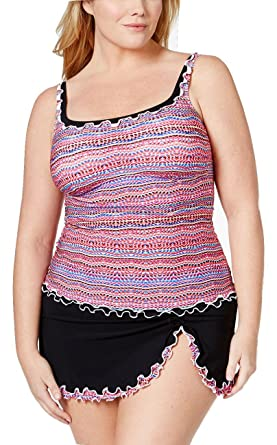 84655e01385e2 Image Unavailable. Image not available for. Color: Profile by Gottex Plus  Size Ruffled Geo-Print Tankini Swimsuit Top 20W