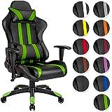 TecTake Chaise fauteuil siège de bureau racing sport ergonomique avec support lombaire et coussin noir vert