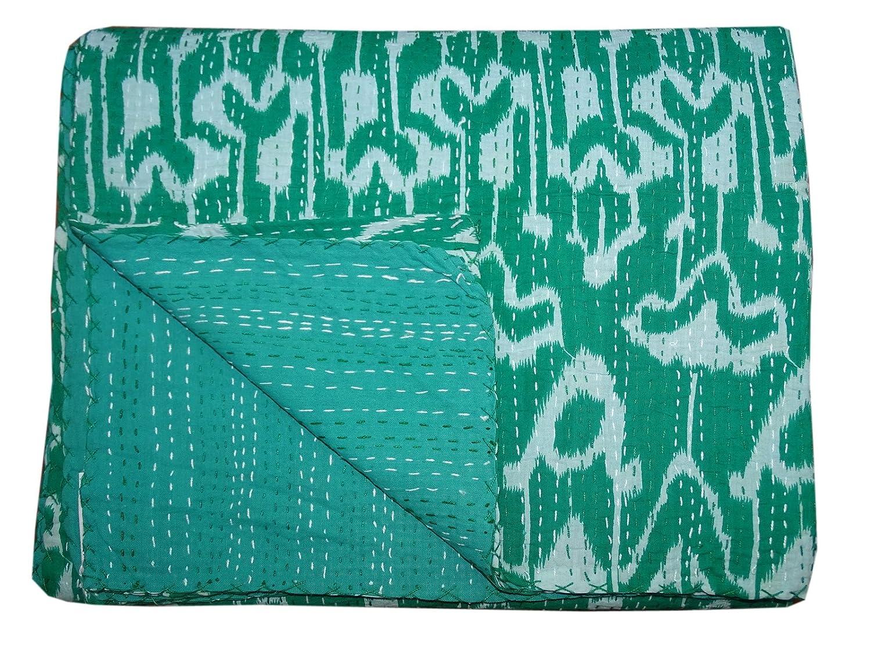 Bhavya International Handmade Green Ikat Kantha Quilt Green Geometric Bedspread Throw Ralli Single Size Bedcover Blanket Gudari