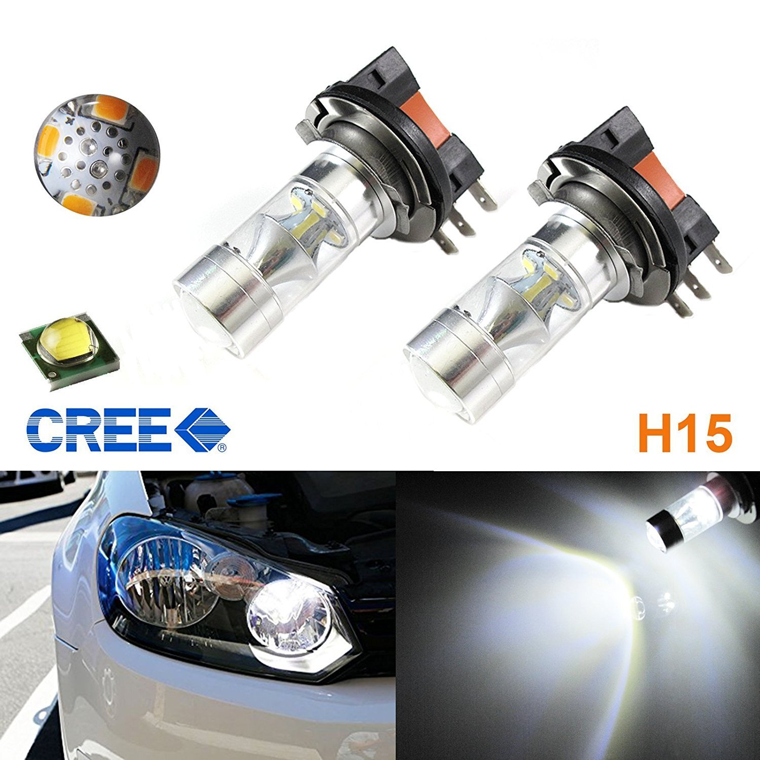 (2) Super Bright White 100W High Power CREE H15 LED Bulbs For VW Audi BMW Mercedes DRL Lamps Xotic Tech Direct