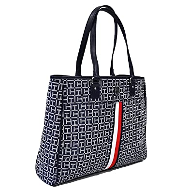 588d95b803 Amazon.com  Tommy Hilfiger Tote Purse With Signature Stripe (Navy Blue)   Shoes