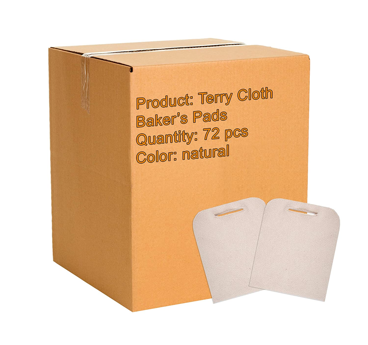 ABC 72 Pack Terry Cloth Baker's Pads. Industrial Oven Pads for Heat Protection. Pot Holders with Hand Hole. Heat Resistant Knitted Pads for Baking, Cooking Needs. Natural Color. One Size fits All.
