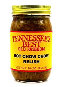 Tennessee's Best Old Fashion Hot Chow Chow Relish | Handcrafted in Small Batches with Simple Ingredients | All Natural, Gluten-free, Produce in a Jar - 16 oz Jar (454 g)…