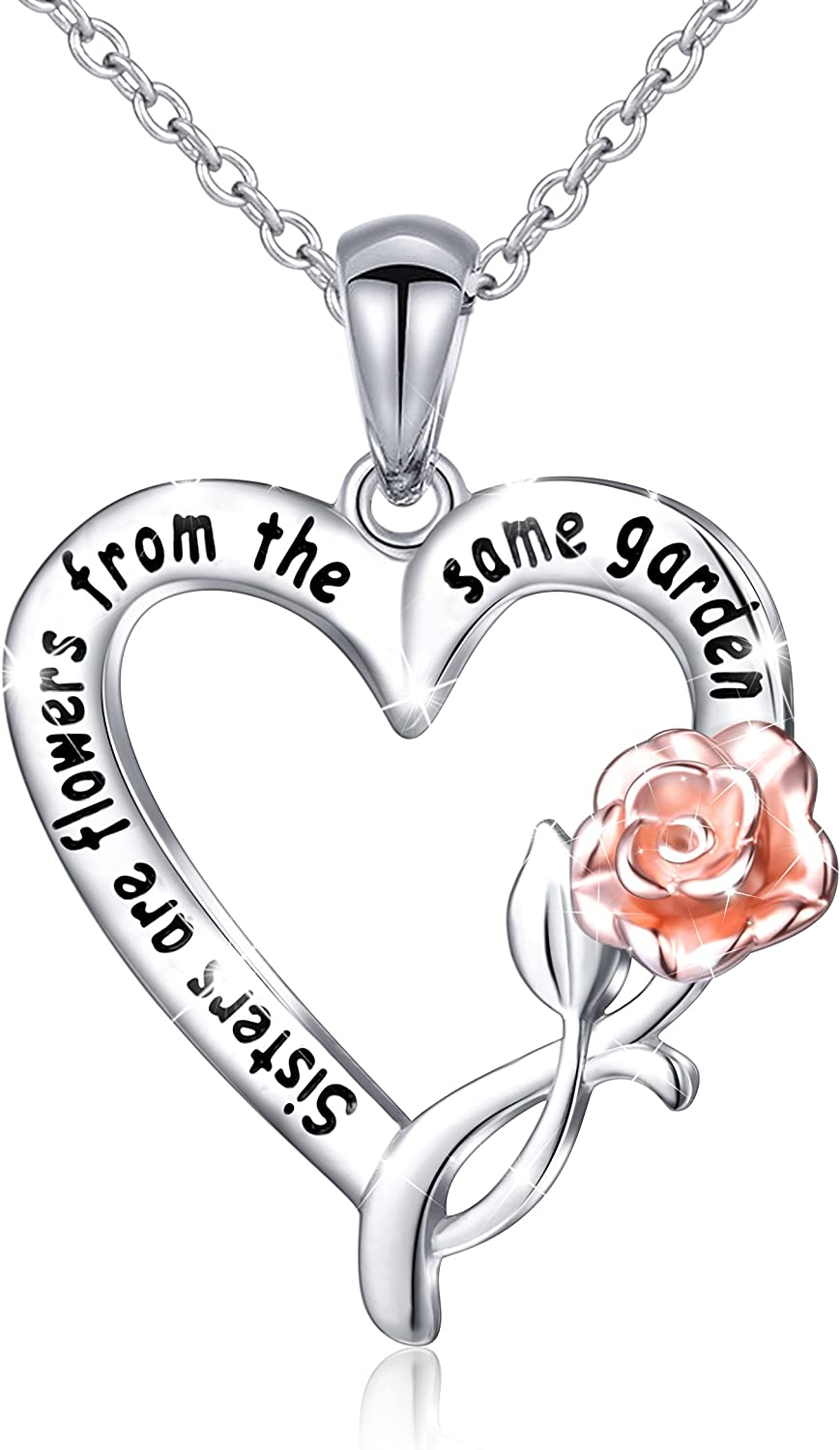DAOCHONG S925 Sterling Silver Sisters are Flowers from The Same Garden Pendant Necklace or Bangle for Women Sisters Friend
