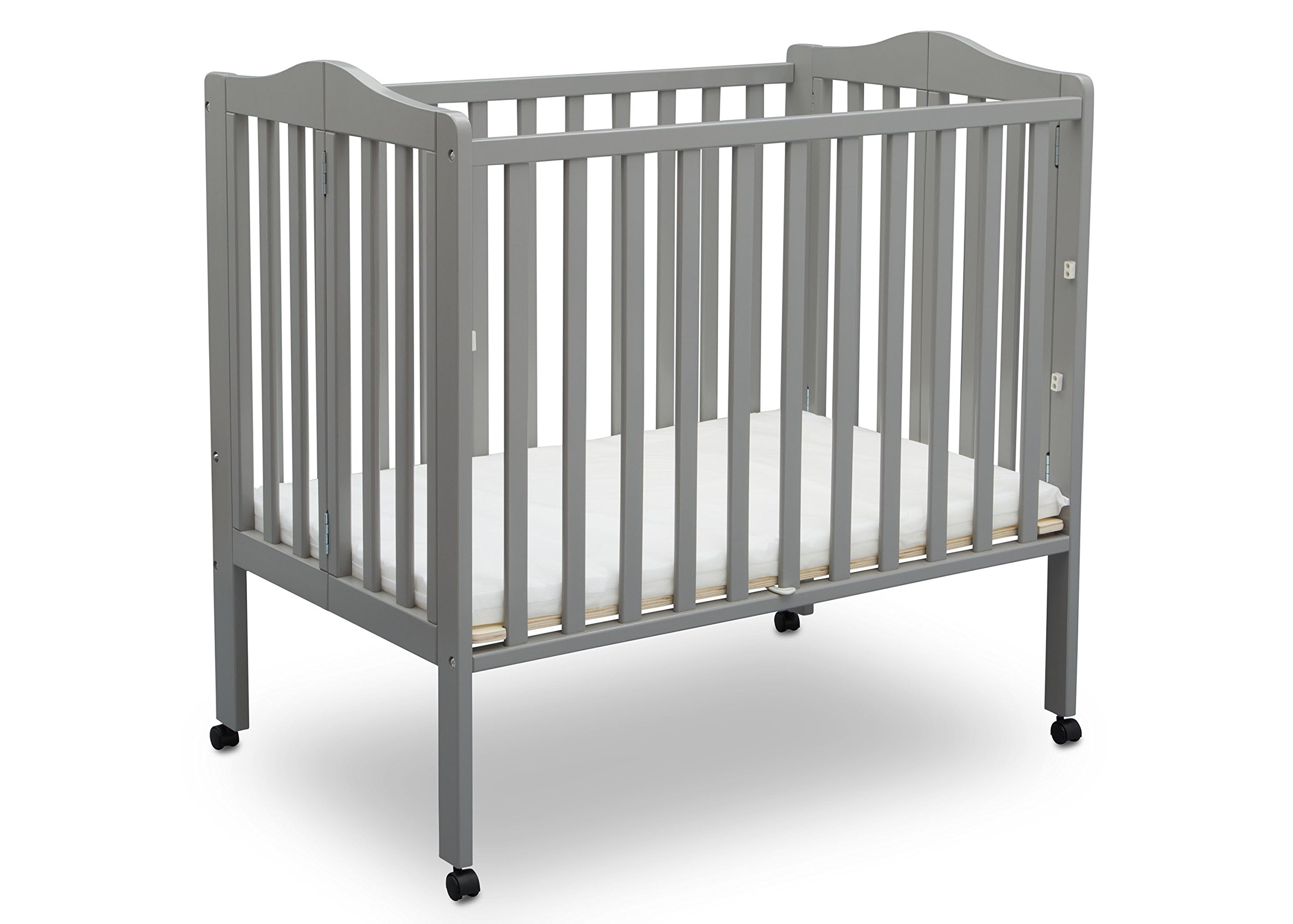 Delta Children Folding Portable Mini Baby Crib with Mattress, Grey by Delta Children