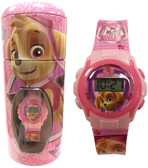 Reloj de pulsera para niños oficial de «La patrulla canina», en estuche de hucha de lata, color rosa, 56274: Amazon.es: Relojes