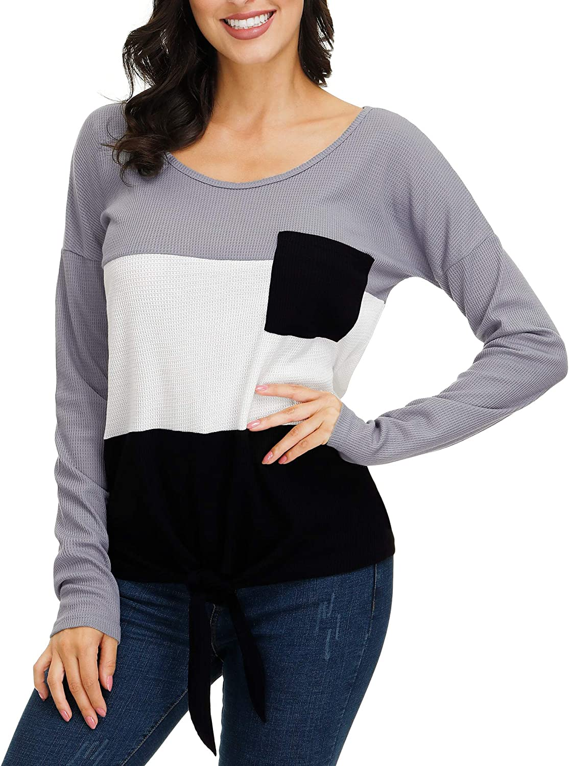 Womens Waffle Knit Tops V-Neck Casual Pullover Tie Knot Color Block Sweater