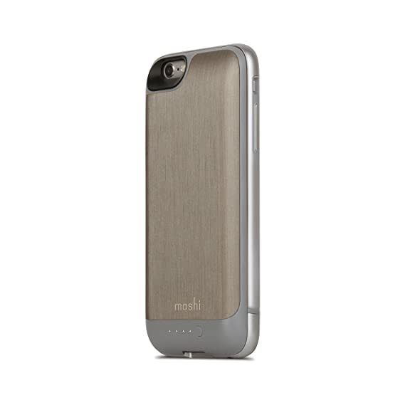 new product dafc3 4a8b6 Moshi iGlaze iPhone 6 Battery Case (Charging Case) - Brushed Titanium