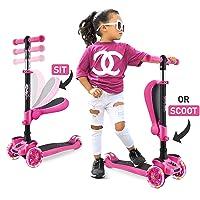 Hurtle 3-Wheeled Scooter for Kids - Wheel LED Lights, Adjustable Lean-to-Steer Handlebar...