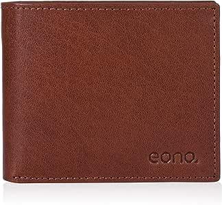 Eono by Amazon - Cartera de Cuero para Mujer y Hombre con diseño Plano y protección contra Lectura RFID (marrón Vintage/Cuero de Aspecto gastado) (Bronceada VT)