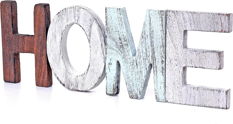 U/D Rustic Wood Home Sign Decorative Wooden Block Word Signs Desktop Sign,Wooden Blocks Rustic Letters Cutout Farmhouse Home Table Centerpiece Decor, Multicolor Freestanding Signs(Home)