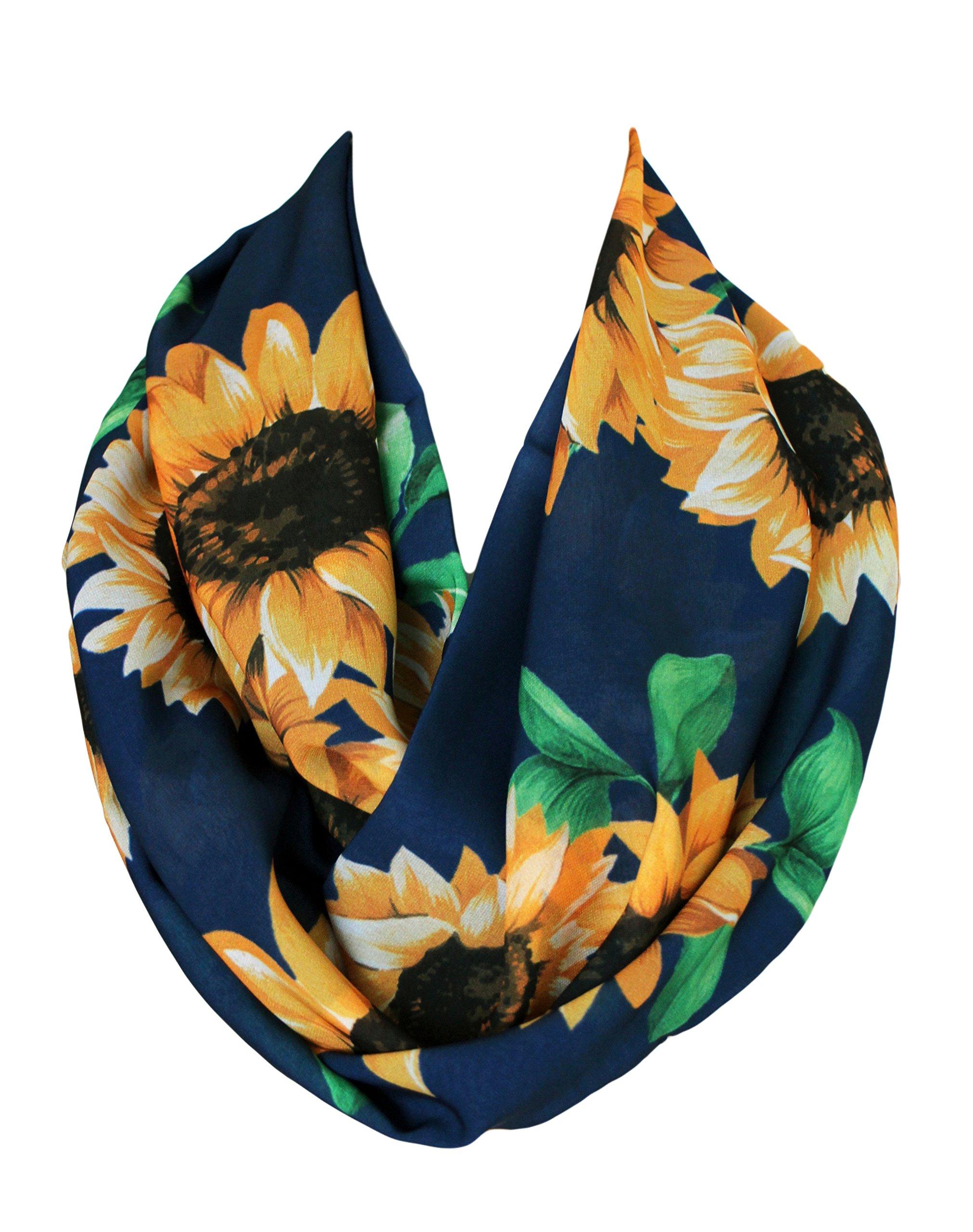 Etwoa's Navy Blue Sunflower Pattern Infinity Scarf Circle Loop Scarf