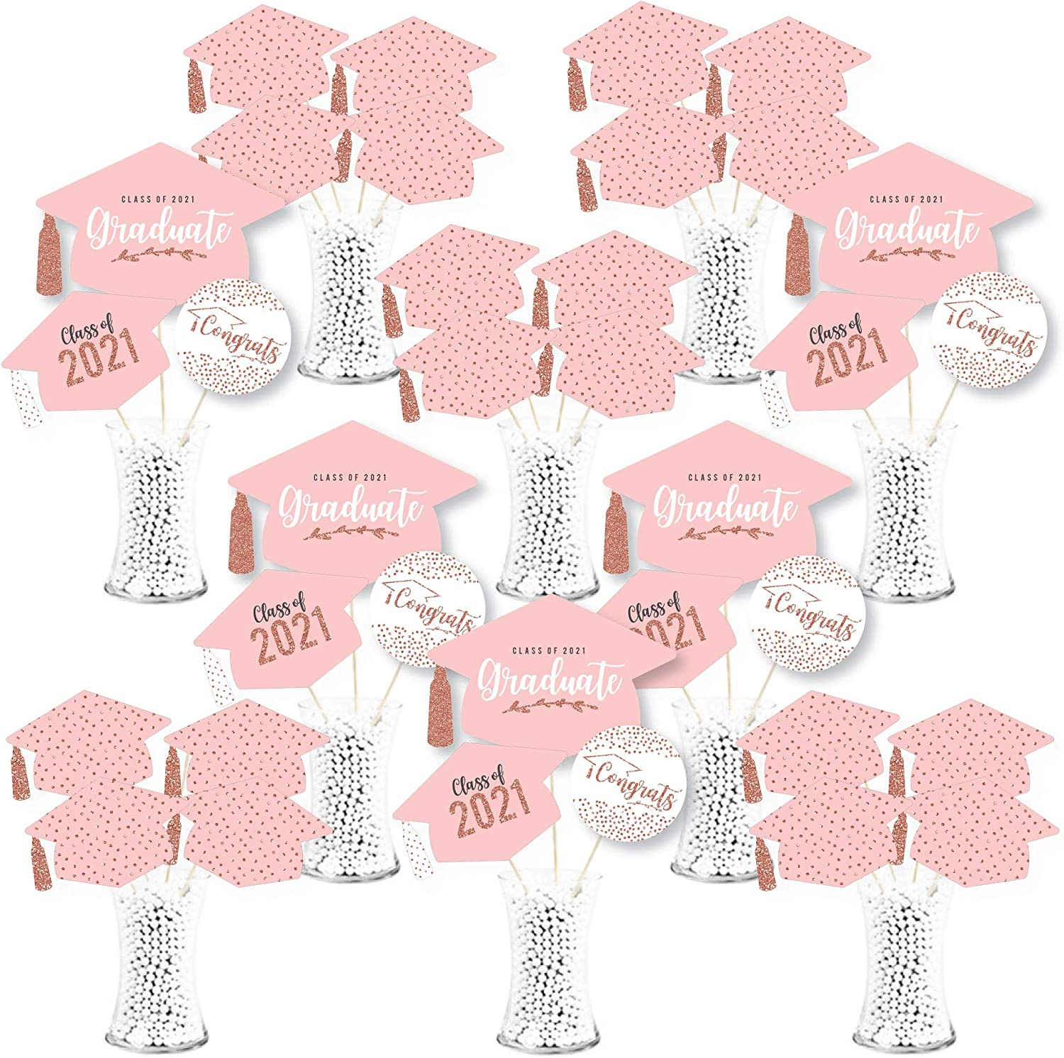Big Dot of Happiness Rose Gold Grad - 2021 Graduation Party Centerpiece Sticks - Showstopper Table Toppers - 35 Pieces