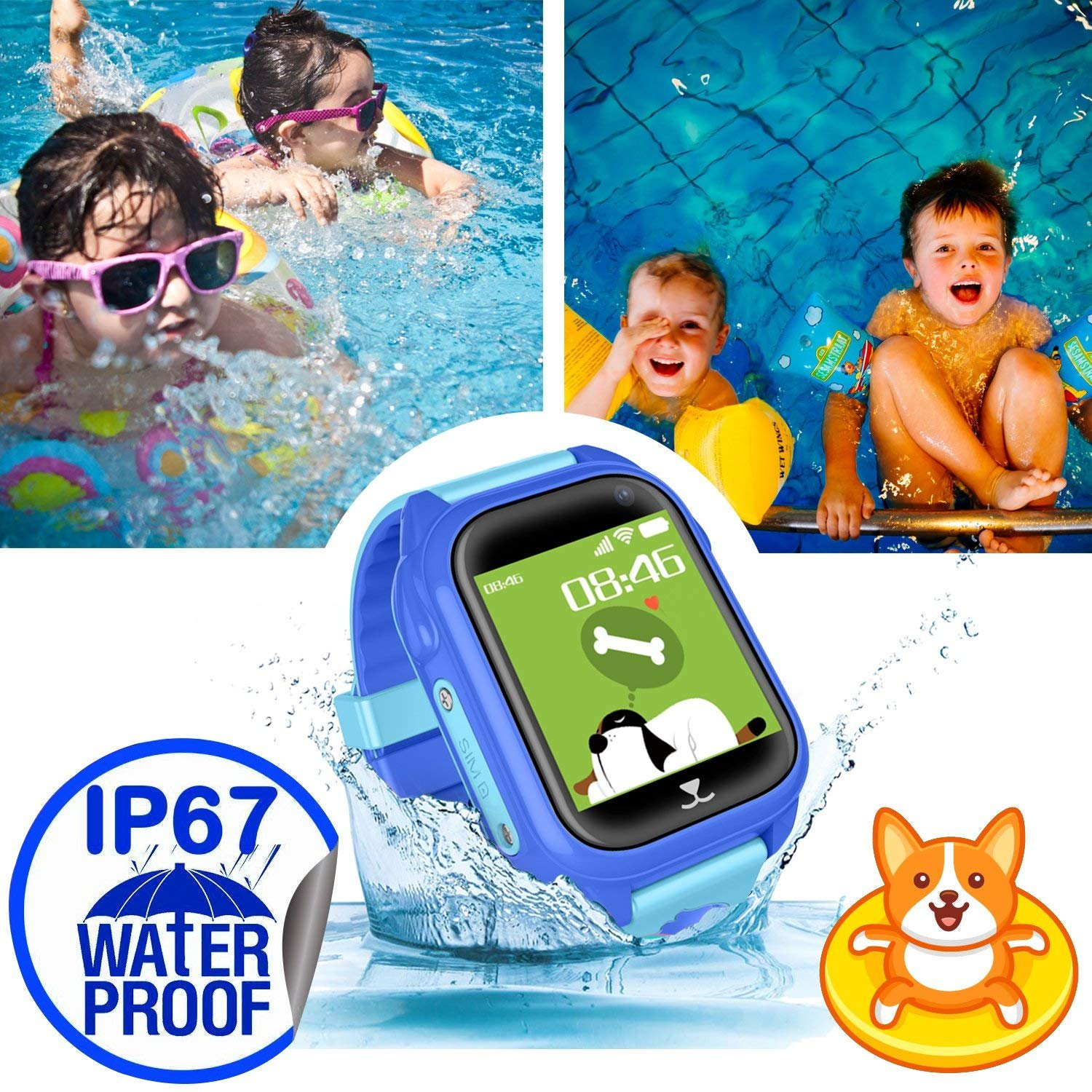 iCooLive Waterproof IP67 Kids Smart Watch Accurate GPS Tracker with FREE SIM CARD for Kid Boys Girls Smartwatch Phone watch Game watch with SOS Call Camera Electronic Learning Toys Birthday Gift by iCooLive (Image #4)