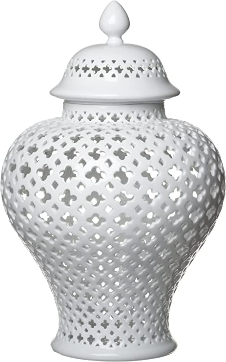 Amazon Com Two S Company Carthage Large Pierced Covered Lantern Porcelain Home Kitchen