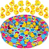 "Gamie Duck Pond Matching Game Includes 20 Ducks with Numbers and Shapes and 3' x 6"" Inflatable Pool - Memory Game…"