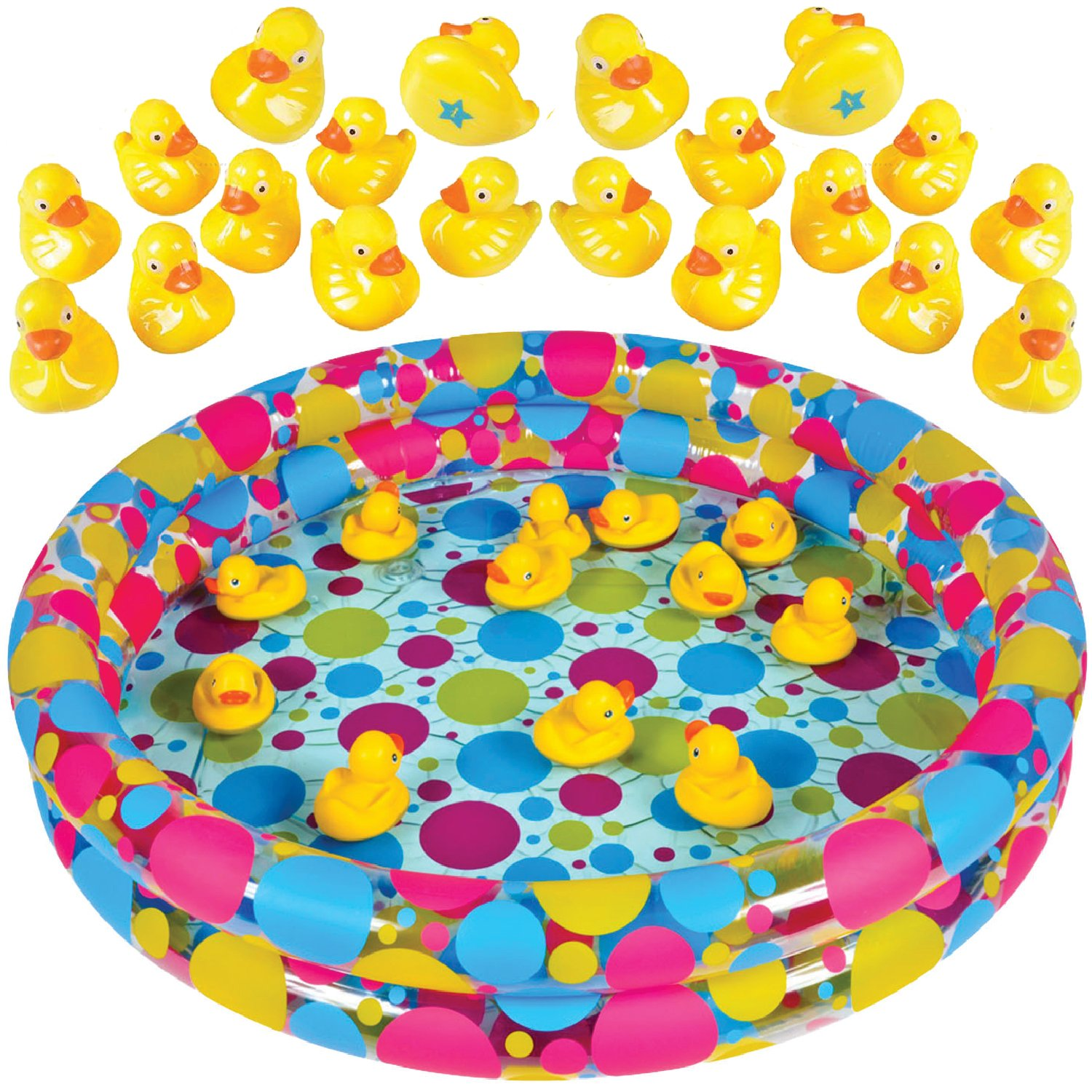"""Duck Pond Matching Game for kids by GAMIE - Includes 20 Plastic Ducks with number & shapes And 3' x 6"""" Inflatable Pool - Fun Memory Game - Water Outdoor Game for Children, Preschoolers, Birthday Party"""