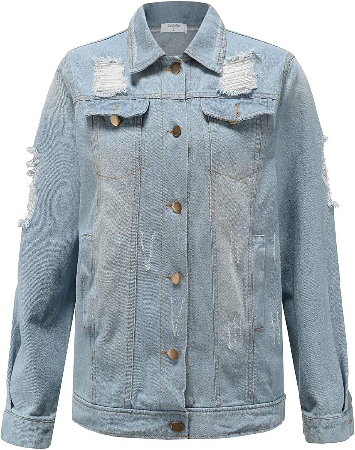 Vosujotis Women Distressed Denim Jackets Button Down Long Sleeve Ripped Jean Jacket Coats