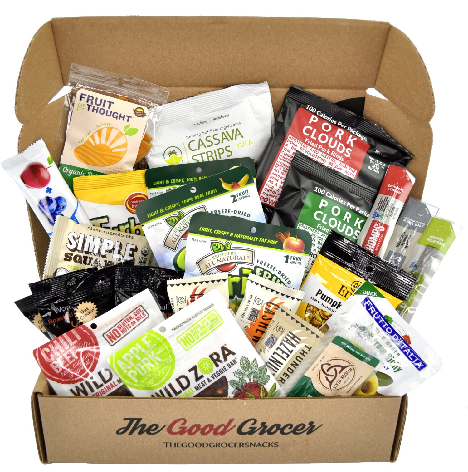 PALEO Healthy Snacks Care Package (25 Ct): Protein Energy Bars, Grass Fed Beef Meat Sticks Jerky Bars, Plantain Chips, Nuts, Crispy Fruit, Fitness Variety Pack, CrossFit, Athlete, Military by The Good Grocer