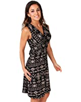 KRISP Womens Fashion Casual Stretch V-Neck Aztec Print Summer Dress US 4-16