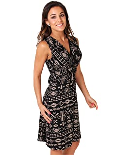 KRISP Womens Fashion Casual Stretch Front Knot V-Neck Aztec Print Tank Dress Plus Size