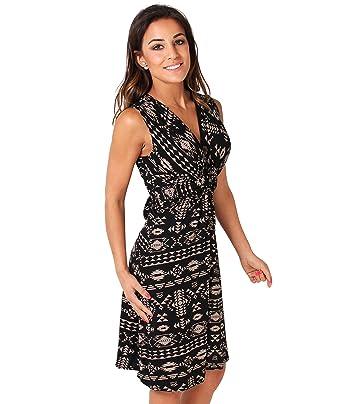 687e65d8fc92 KRISP® Damen Kleid Midi Mini Vorn Geknotet Aztekenmuster  Amazon.de   Bekleidung