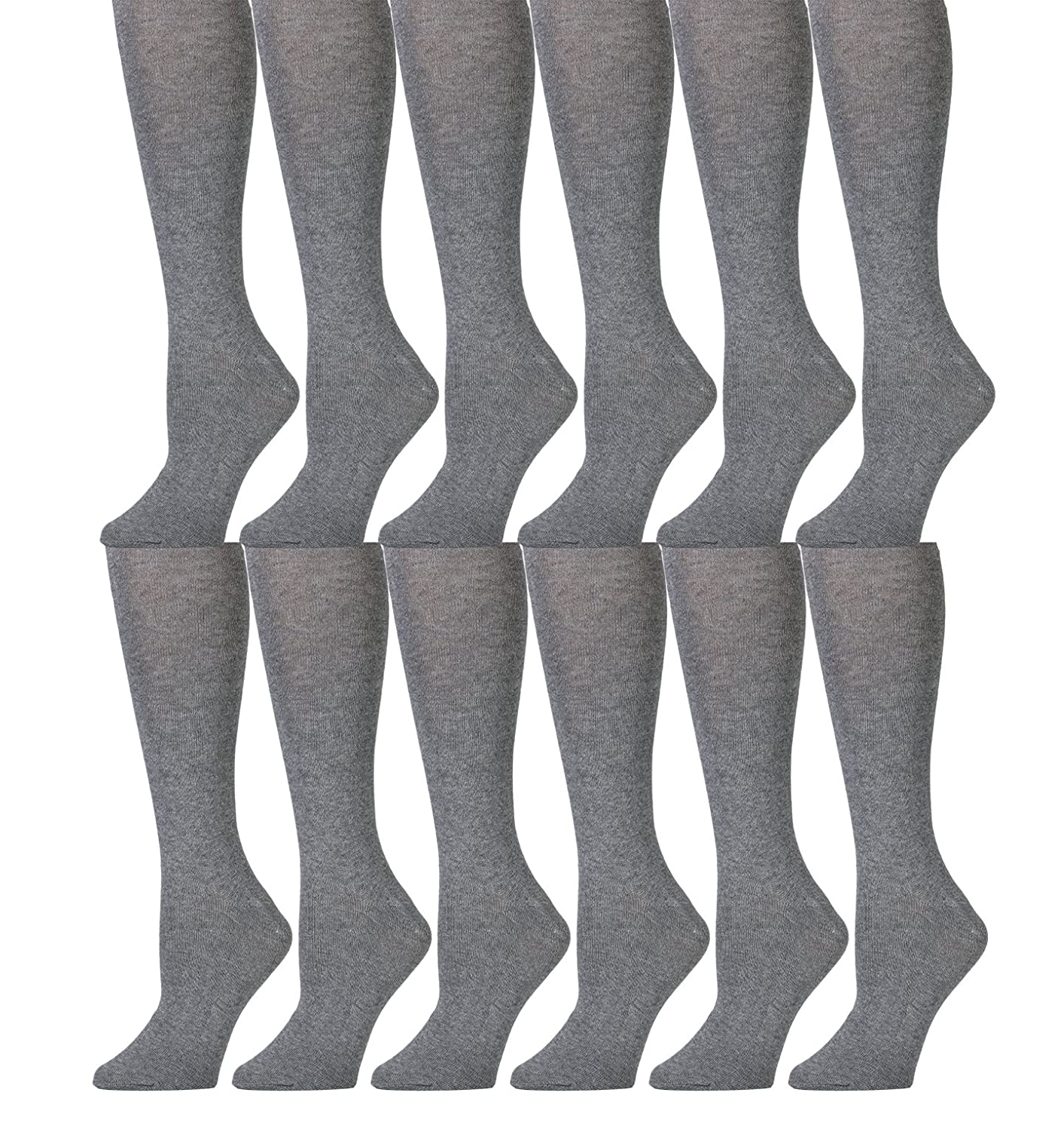 12 Pairs of Girls Colored Knee High Socks, Casual, School Uniform, Travel, by Excell Solid Colors (Navy) 409-6-8-navy-dz