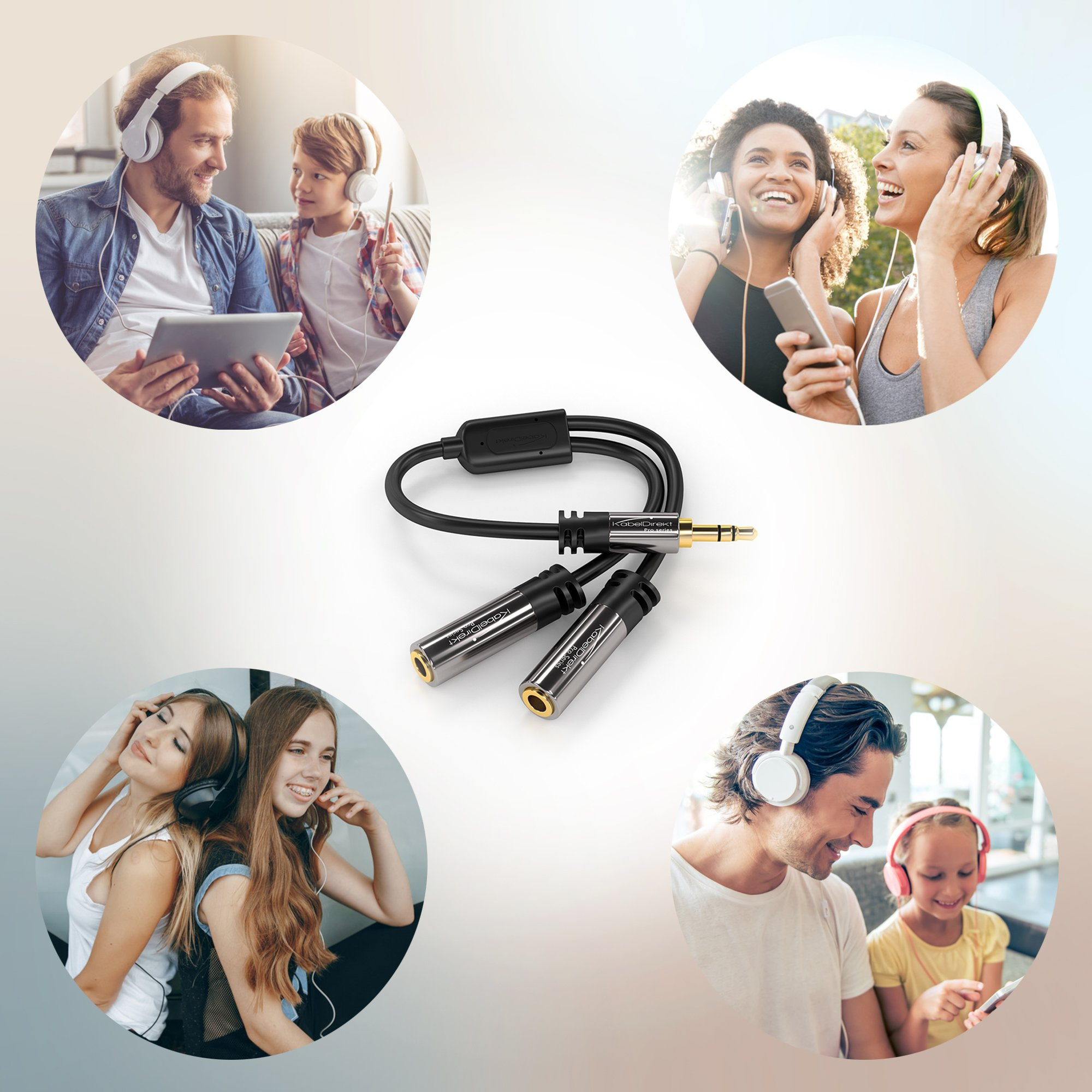 Y Stereo Splitter (1 x 3.5mm Male to 2 x 3.5mm Female, PRO Series) supports (Produces Equal Audio Output for Headphones, Earphones, and Speakers) by KabelDirekt