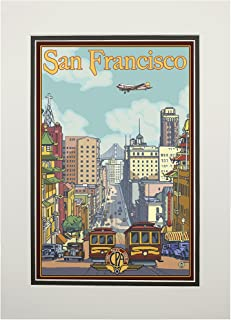 product image for San Francisco, California - California Street (11x14 Double-Matted Art Print, Wall Decor Ready to Frame)