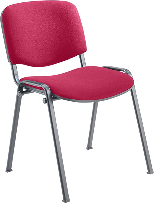 Office Hippo Heavy Duty Stackable Reception Chair Black Frame Fabric Claret Amazon Co Uk Kitchen Home