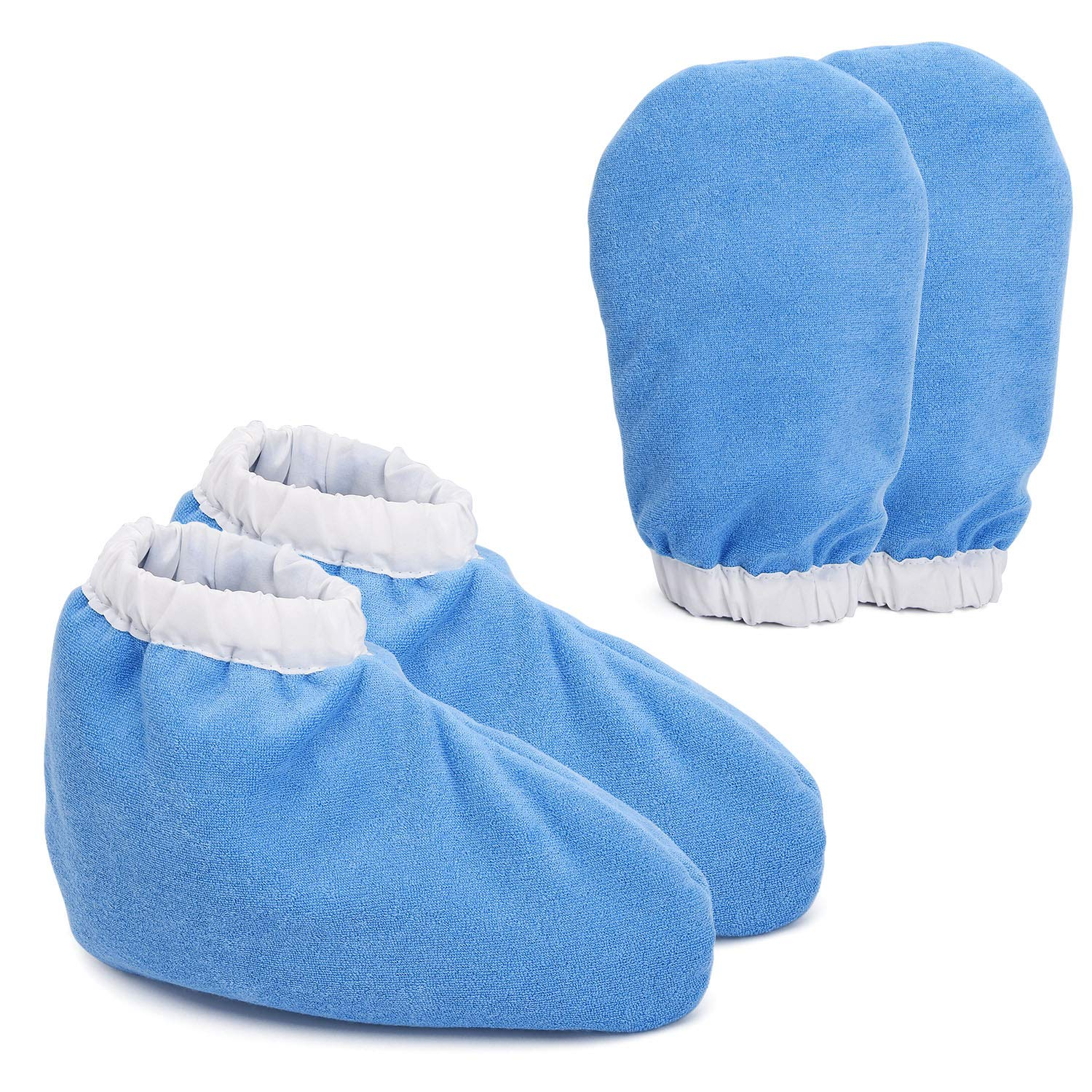 Paraffin Wax Bath Terry Cloth Gloves & Booties, Hand Care Treatment Mitts Spa Feet Cover, Thick Heat Therapy Insulated Soft Cotton Mittens Work Kit for Women - Blue