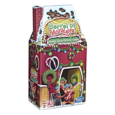 Hasbro Gaming Barrel of Monkeys: Candy Cane Holiday Edition Game for Kids Ages 3+: Toys & Games