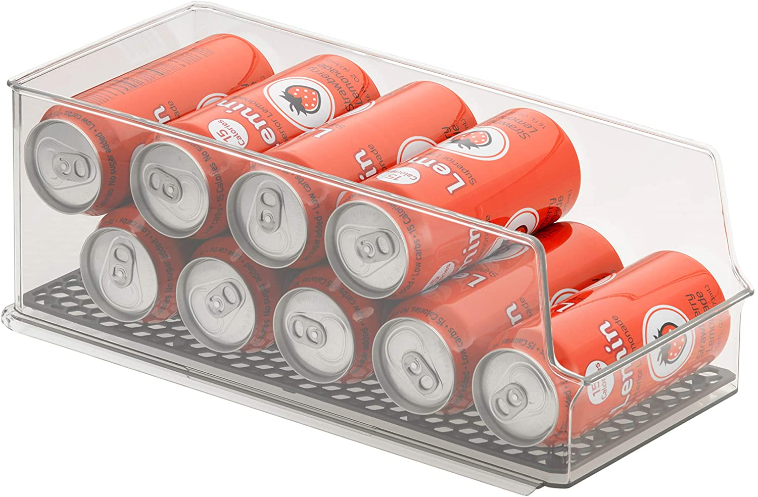 Spectrum Diversified Hexa in-Fridge Bin, Tall Holder Dispenser Rack for Storage and Organization, Holds Drink Cans, Meats, Produce, and More, Clear