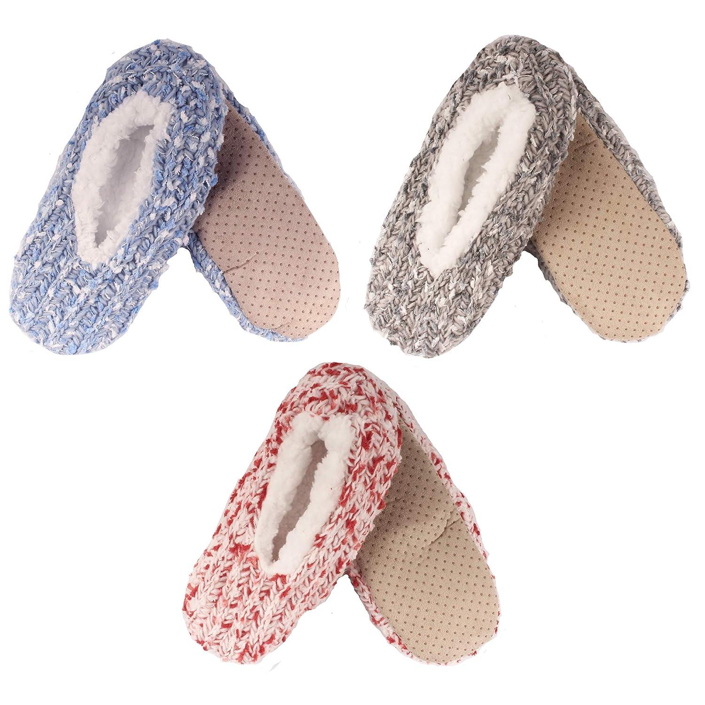 Assortment 3b BambooMN Women's Fuzzy Warm Comfort Cozy Fleece Lined Anti-Slip Slippers