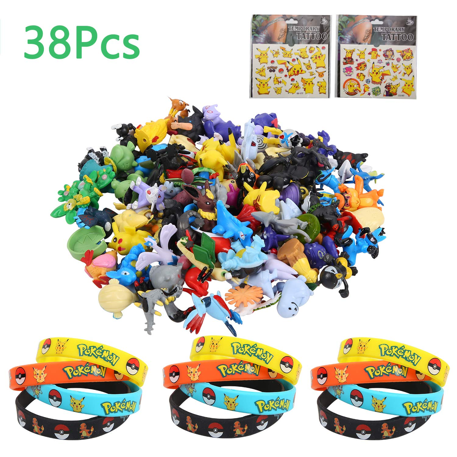 Colmanda Pokemon Monster, 38 Piezas Pokemon Monster Mini Figure Pokemon Pulsera de Silicona Pegatina Pikachu para Regalos y Fiestas para Niños