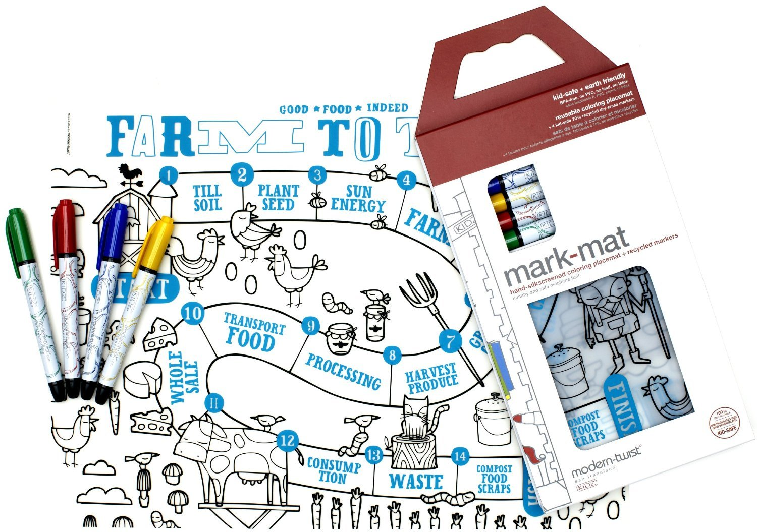 Modern-twist Kids Mark-Mat Coloring Silicone Placemat with 6 Markers, Farm to Table