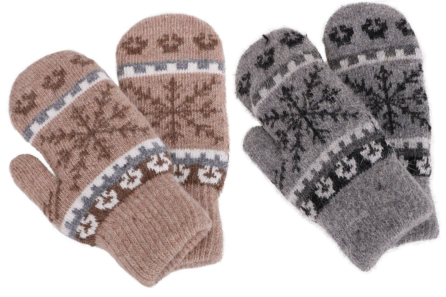 Knit Mittens Women's Winter Snowflake Sherpa Lined Gloves,2 Pairs,Khaki/Grey by Verabella