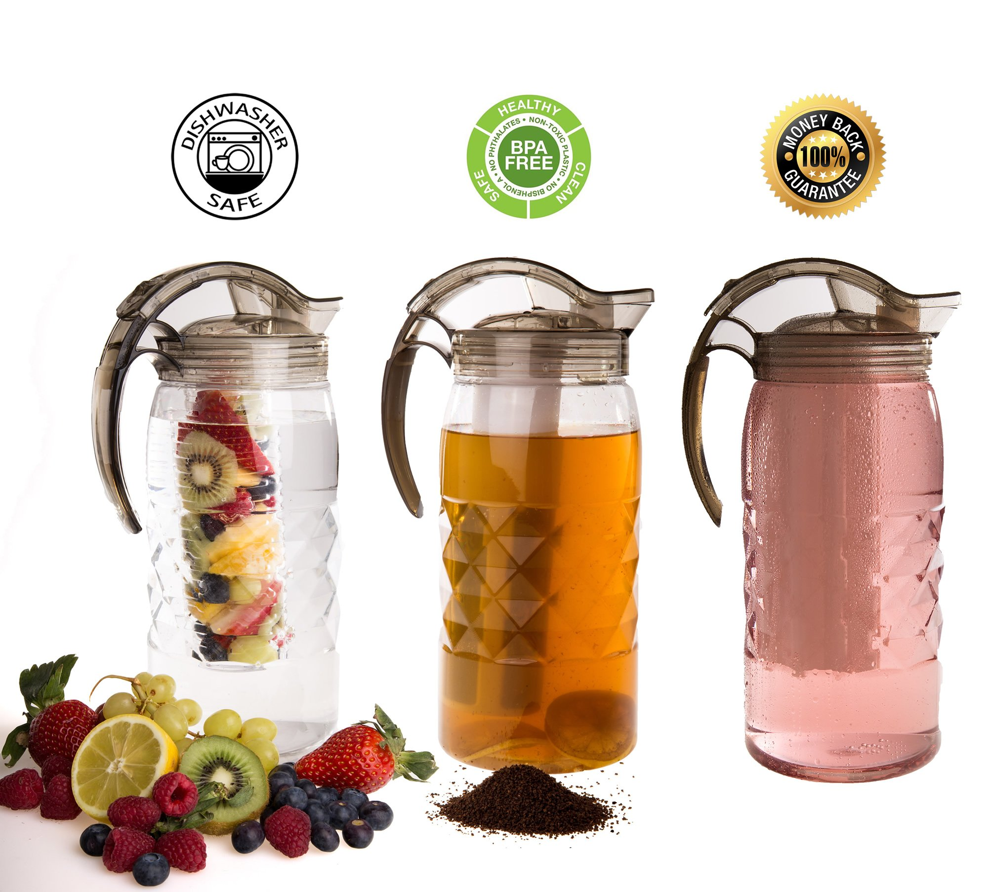 Water Infuser Pitcher For Tea, Herb, Fruit Infusion, Iced Vodka, Margarita, Tequila, Cocktails - Unique 3 Attachments Unbreakable Plastic Carafe Large 2.2qt 2.1ltr Capacity - Outdoor Indoor Use
