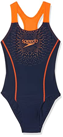 754b4ce4520 Speedo Women's Gala Logo Medallist Swimsuit, Navy/Fluo Orange, 6/ 28 UK