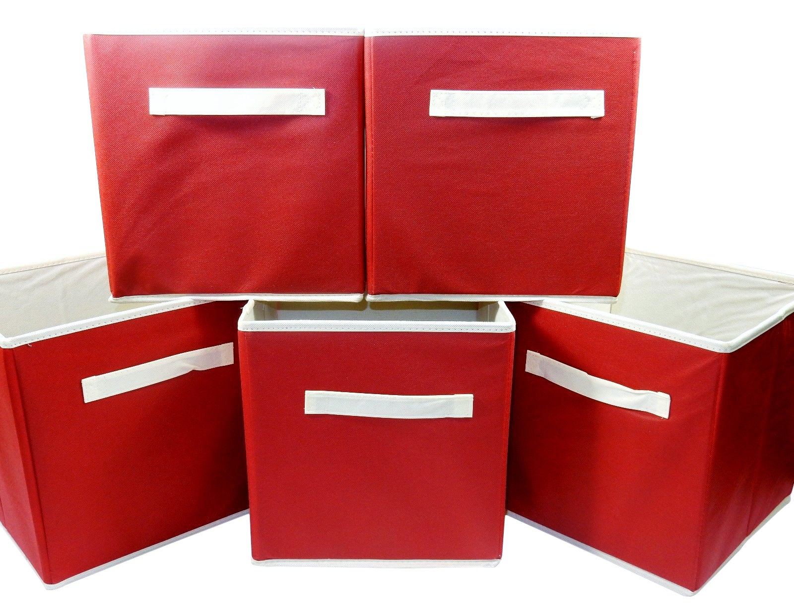 Prime Line Set of 5 Folding Storage Cubes, 10.5x10.5x11 - Red Fabric, Home, School, Office.