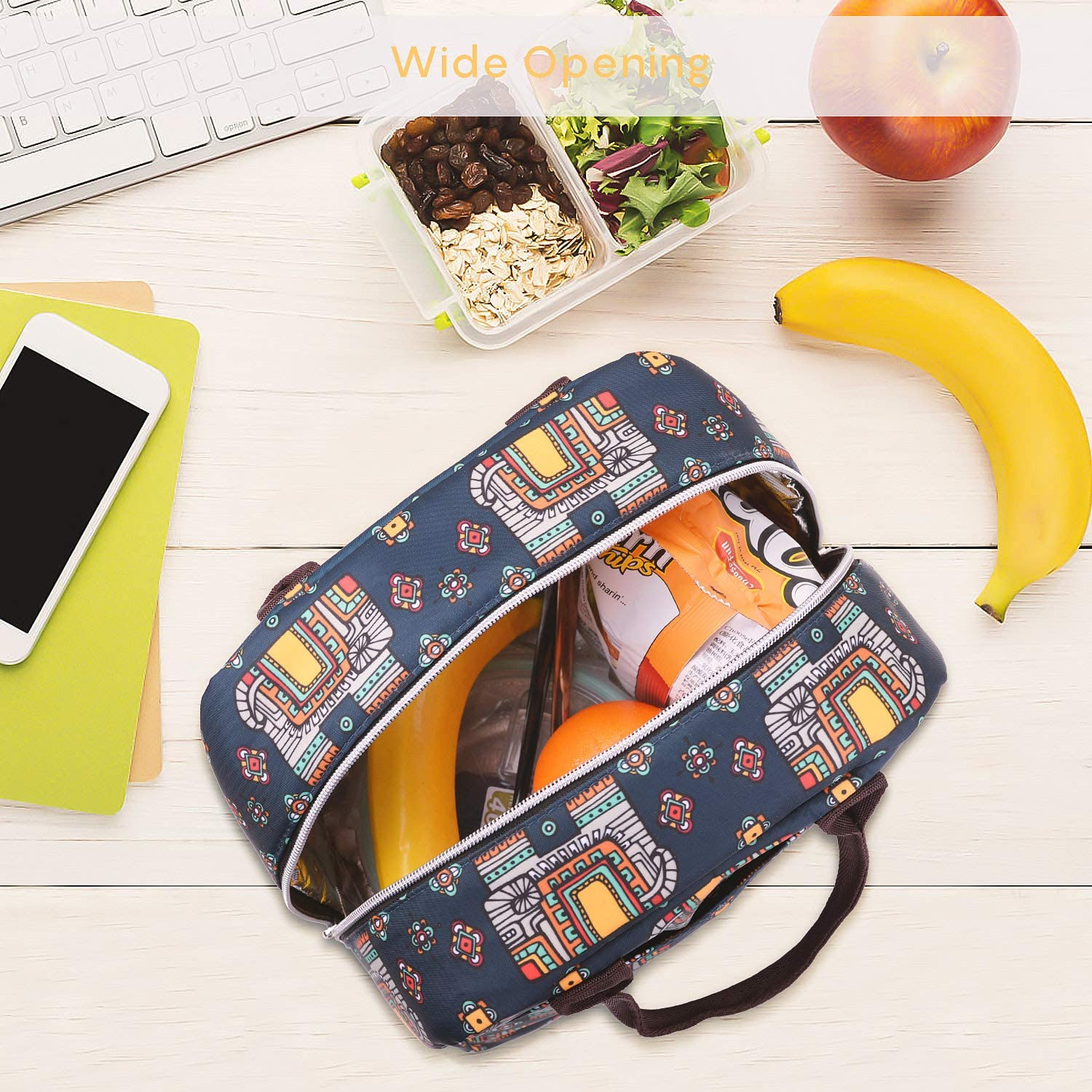 Light Blue Stripe Lunch Box for Women Girls Double Layer Leakproof Lunch Bags for Work School Travel Outdoor