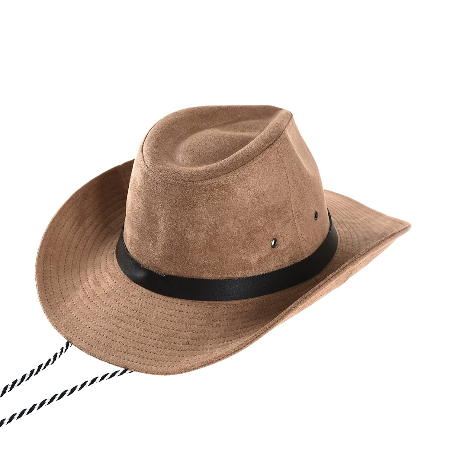 WITHMOONS Cowboy Cappello a tesa larga Suede Indiana Jones Hat Outback Hat  Fedora With Cord CD8858 (Beige)  Amazon.it  Abbigliamento 1e5a79dc44cb