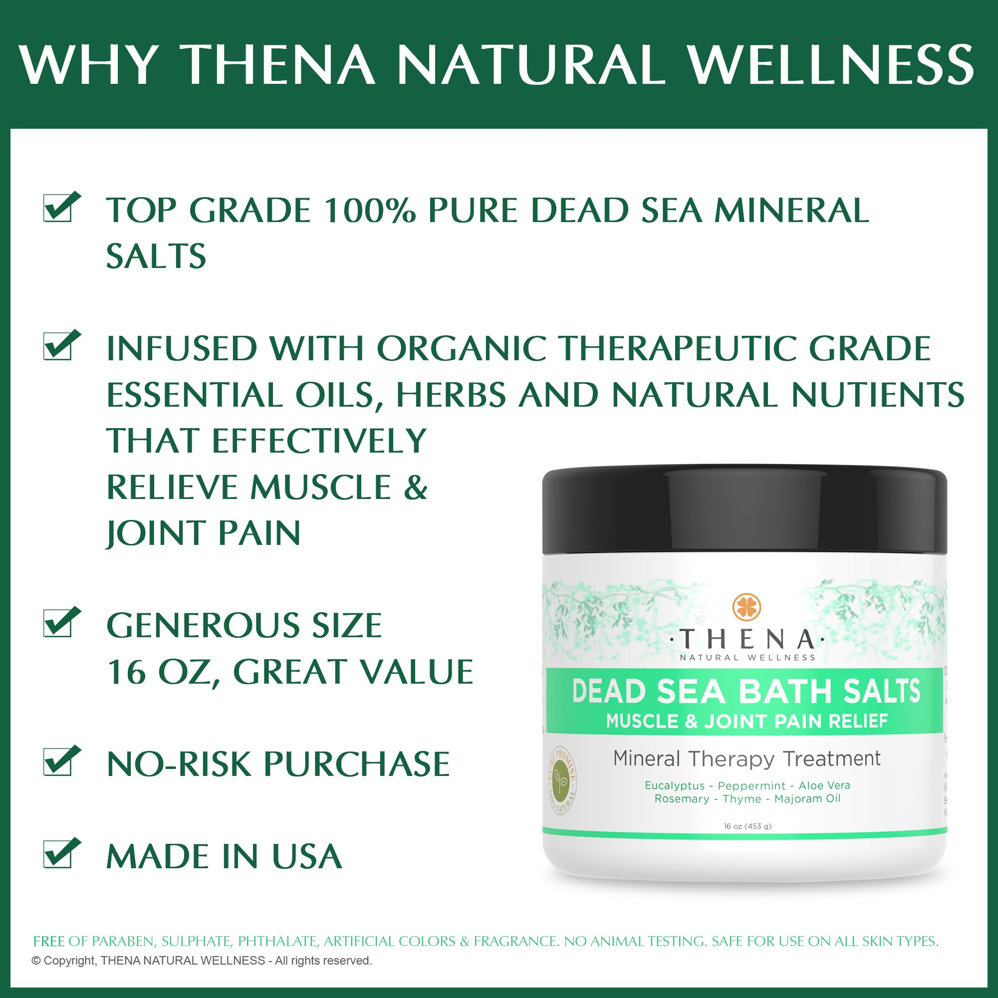Organic Joint & Muscle Relief Soak, Natural Arthritis Remedies With Arnica & Stress Relieve Essential Oils, Best Spa Bath Sea Salts Product For Relaxation, Soothe Back Neck Shoulder Pain Aches Tension by THENA Natural Wellness (Image #3)