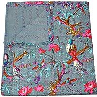 Grey Kantha Quilt, Indian Kantha Blanket, Queen Quilt, Bird Print Kantha Throw, Handmade Kantha Embroidered Bedspread, by The Ethnic Crafts