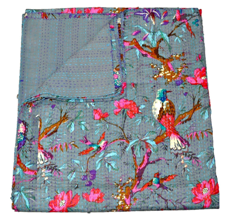 Grey Kantha Quilt, Indian Kantha Blanket, Queen Quilt, Bird Print Kantha Throw, Handmade Kantha Embroidered Bedspread, by The Ethnic Crafts COMIN18JU007922