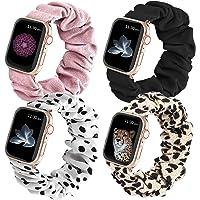 SelfTek 4-pak elastyczny pasek do zegarka Scrunchie kompatybilny z Apple Watch 38 mm 40 mm miękka tkanina z nadrukiem…