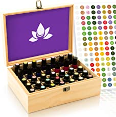 Essential Oil Box - Wooden Storage Case Holds 35 Bottles & Tall Roller Bottles. Natural Pine Wood. Free EO Labels & Foam Pad. Best for Keeping 5ml 10ml, 15ml & 1oz 30 ml Oils Safe